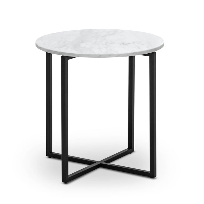 Parson Round White Marble Side Table - Black