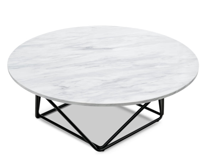 Davies 100cm Round White Marble Coffee Table - Black