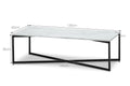 Parson 1.2m White Marble Coffee Table - Black