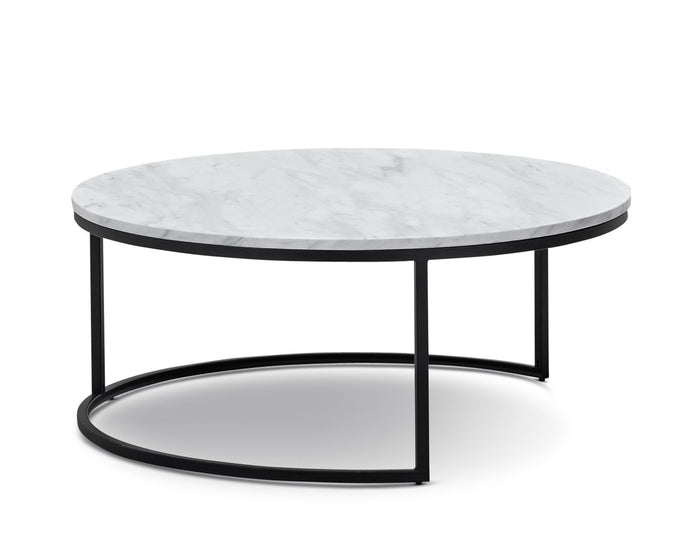 Tundra Round Nest White Marble Coffee Table - Black