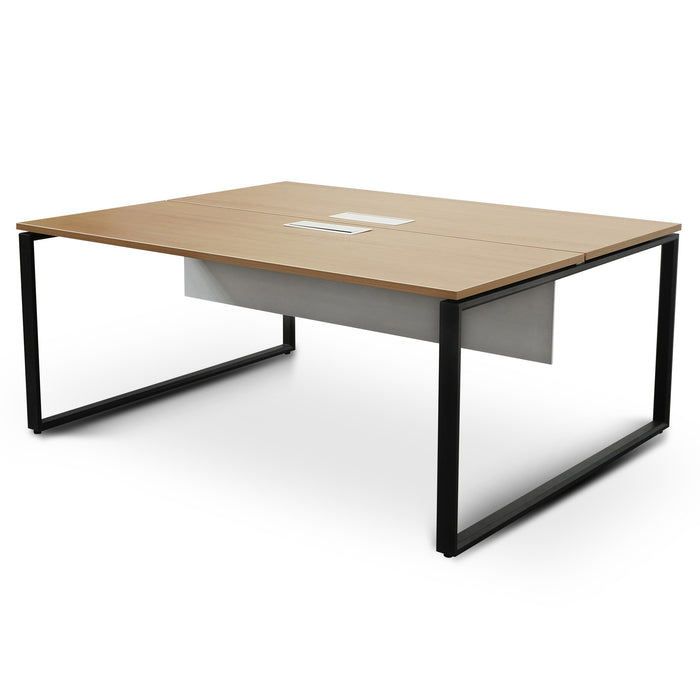 Halo 2 Seater Workstation - Natural Top - Black Base - White privacy screen