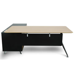 Excel 1.95m Executive Desk Right Return - Black Frame With Natural Top and Drawers