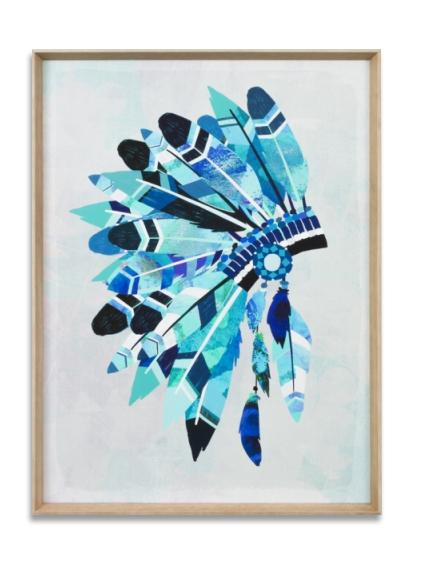 Vibrant Headdress Wall Art Print - Aqua