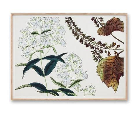 Wildflower Woodblock Blue Wall Art Print