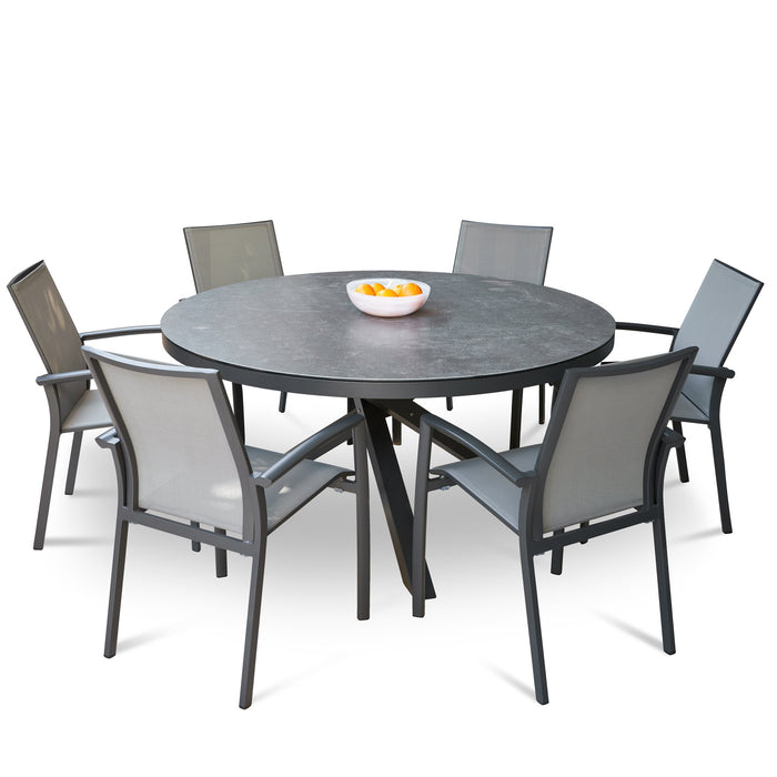 Apollo 150cm Round Ceramic Outdoor Dining Table - Charcoal