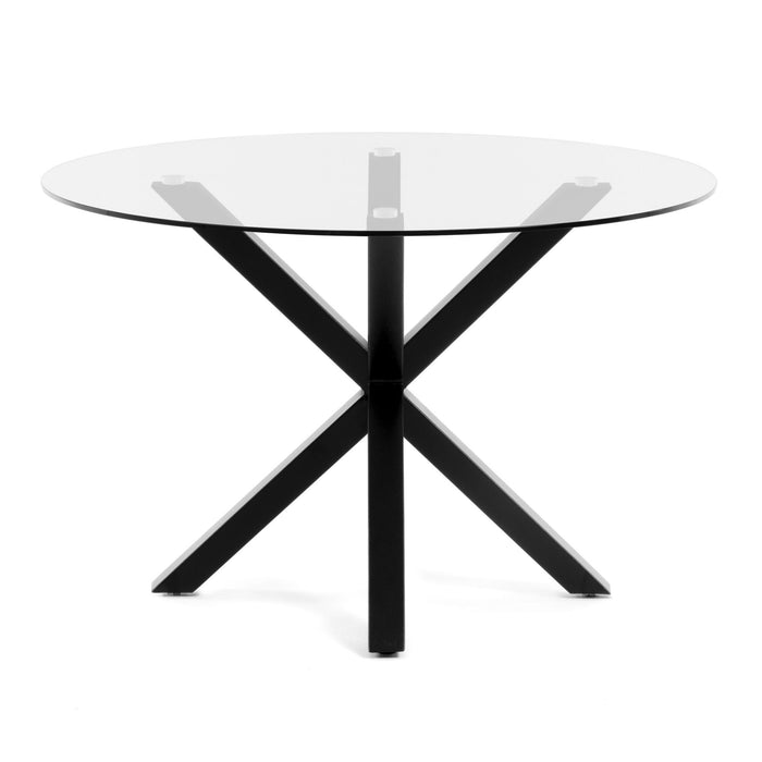 Arya 119cm Round Glass Dining Table