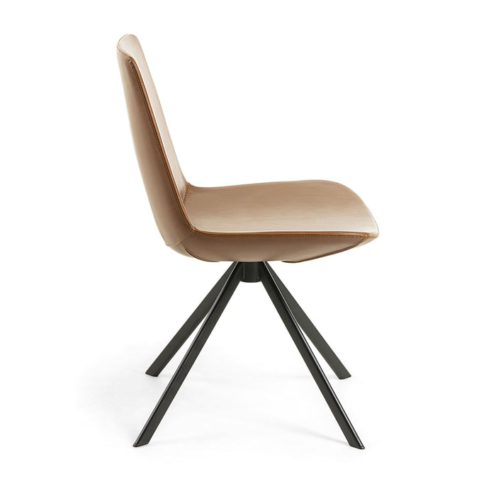 Astra Synthetic Leather Dining Chair -Light Brown
