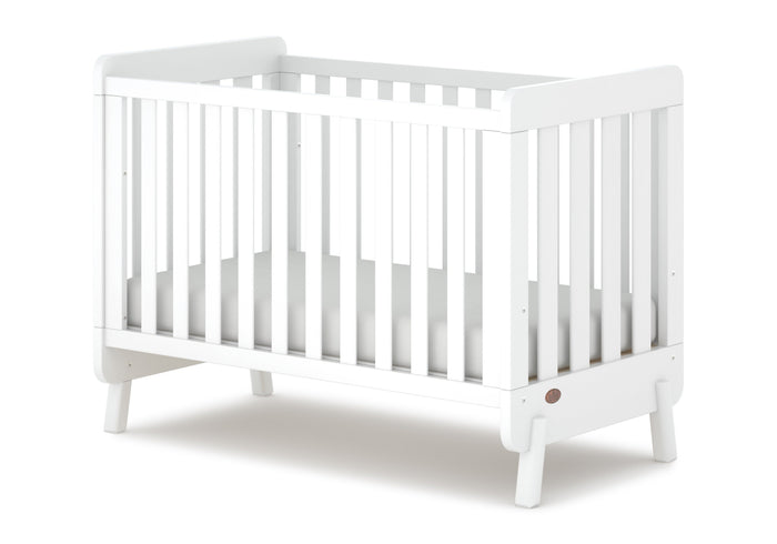 Piper Compact Adjustable Wooden Baby Cot with Mattress - White