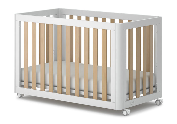 Melody Compact Adjustable Wooden Baby Cot with Mattress - White Natural