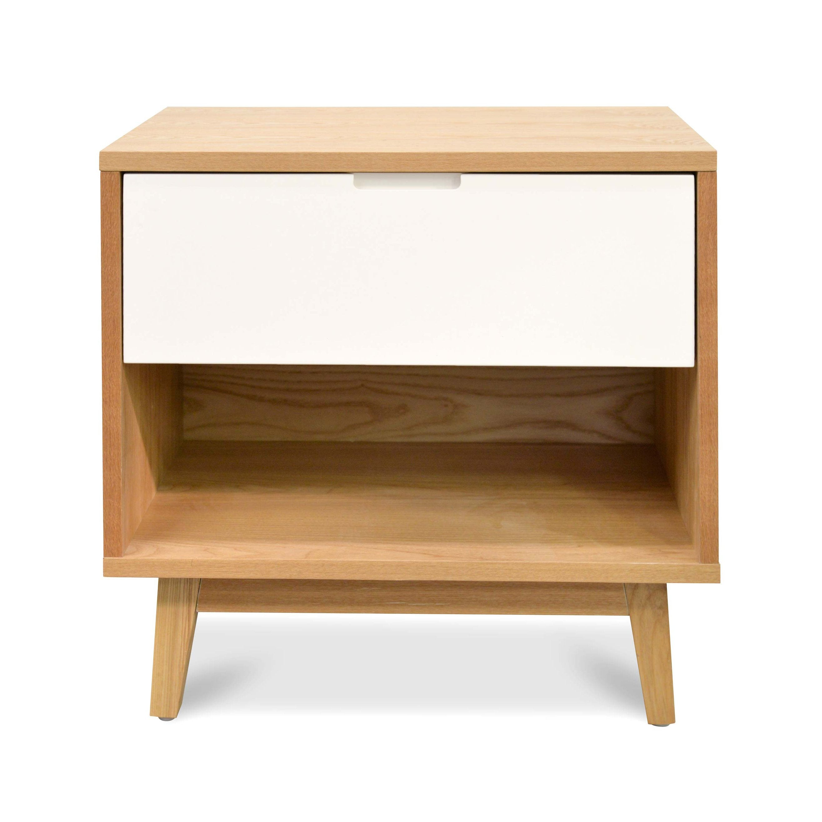 Picture of: Iris Wooden Bedside Table Natural And White Interior Secrets