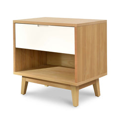 Iris Wooden Bedside Table - Natural and White