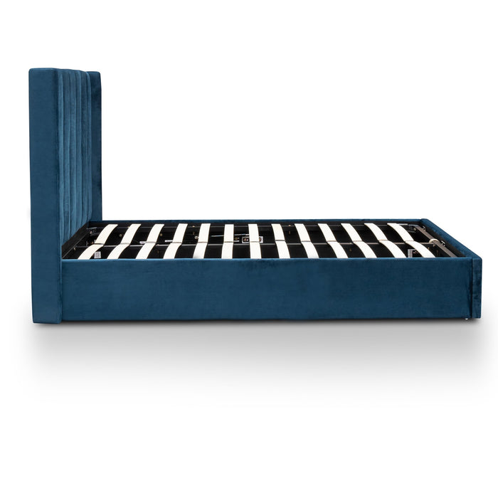 Betsy Queen Sized Velvet Bed Frame - Teal Navy with Storage