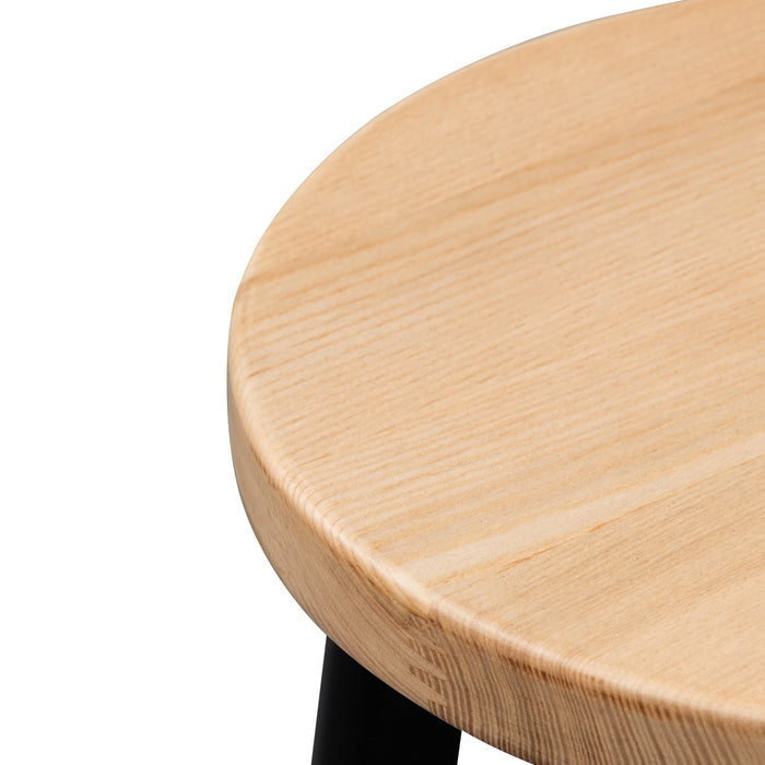 Krista 46cm Natural Wooden Seat Low Stool - Black Legs