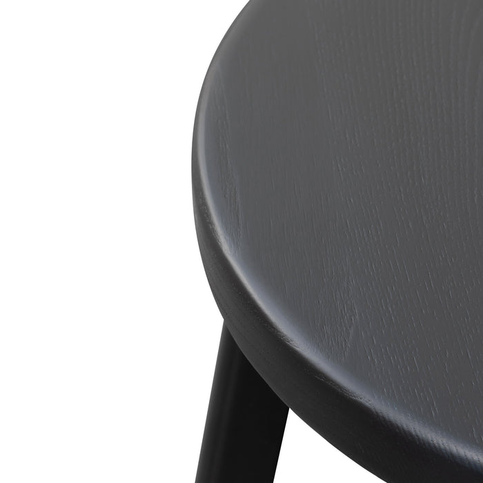 Krista 46cm Wooden Seat Low Stool - Full Black