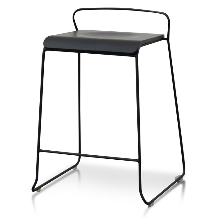 Arturo 65cm Wooden Seat Bar Stool - Black