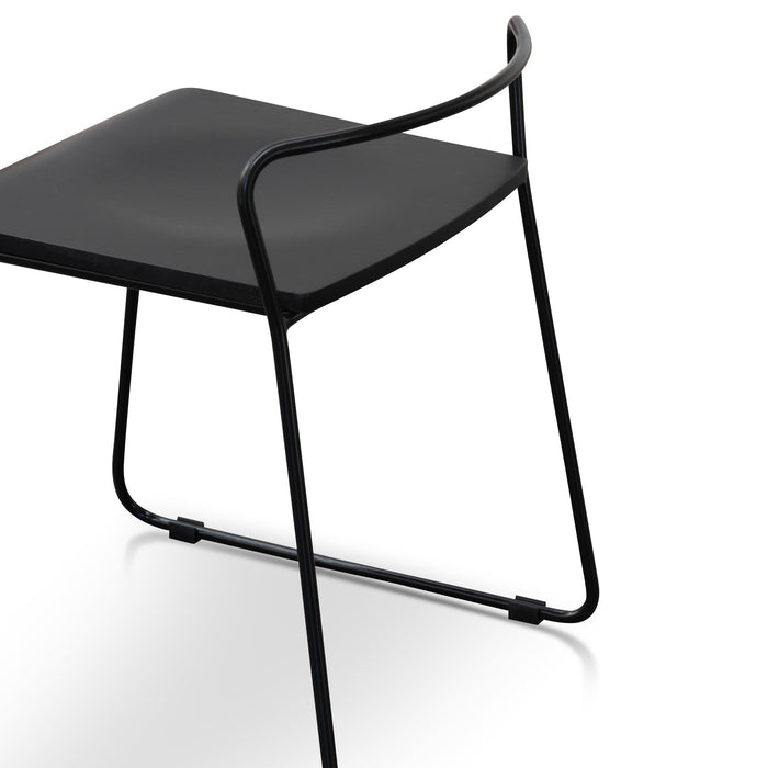 Arturo 45cm Wooden Seat Low Stool - Black