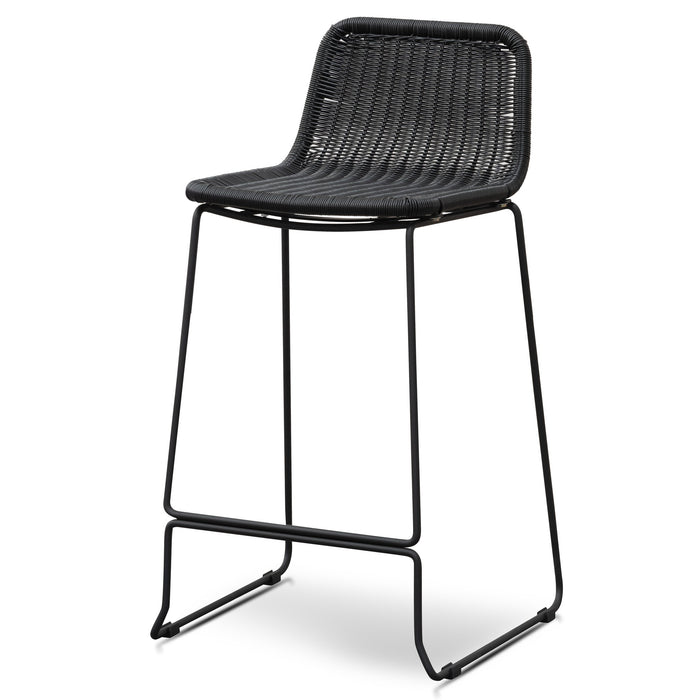 Morton 68cm Rattan Seat Bar Stool - Black