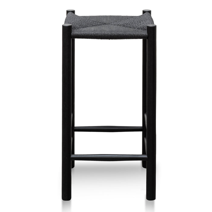 Erika 65cm Oak Bar Stool - Black