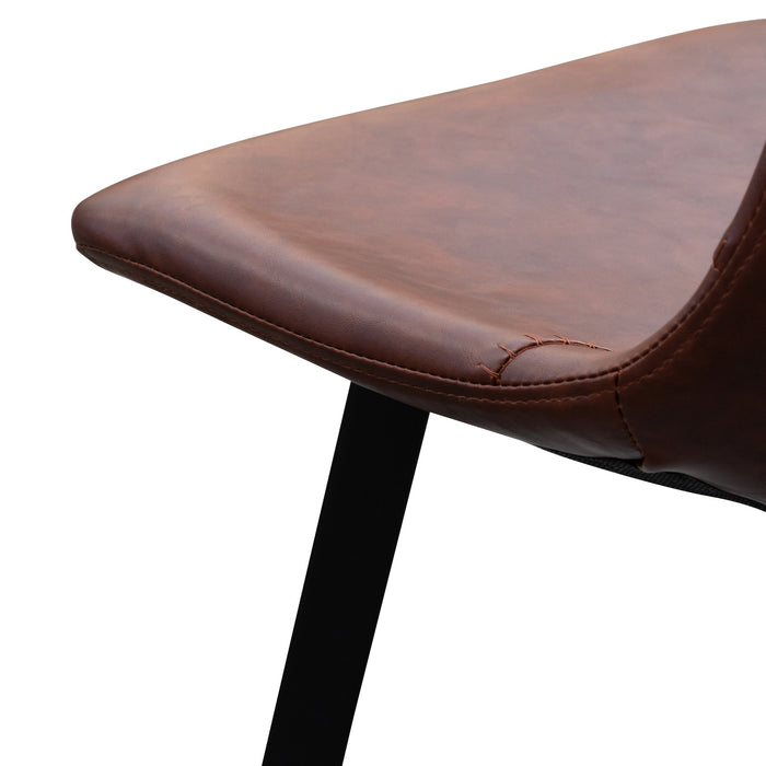 Set of 2 - Duke 80cm Bar Stool - Cinnamon Brown PU Leather