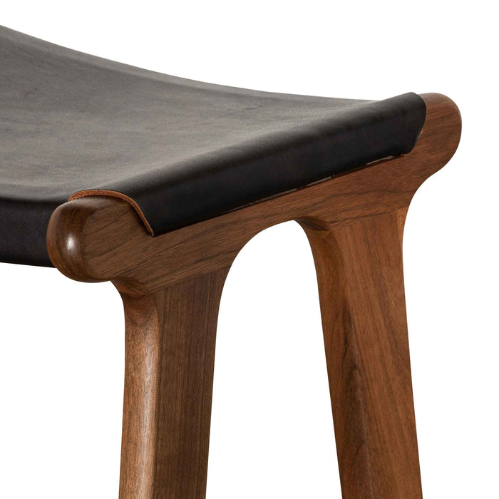 Rowland 75cm Bar Stool - Walnut with Black Leather BS6566-SU