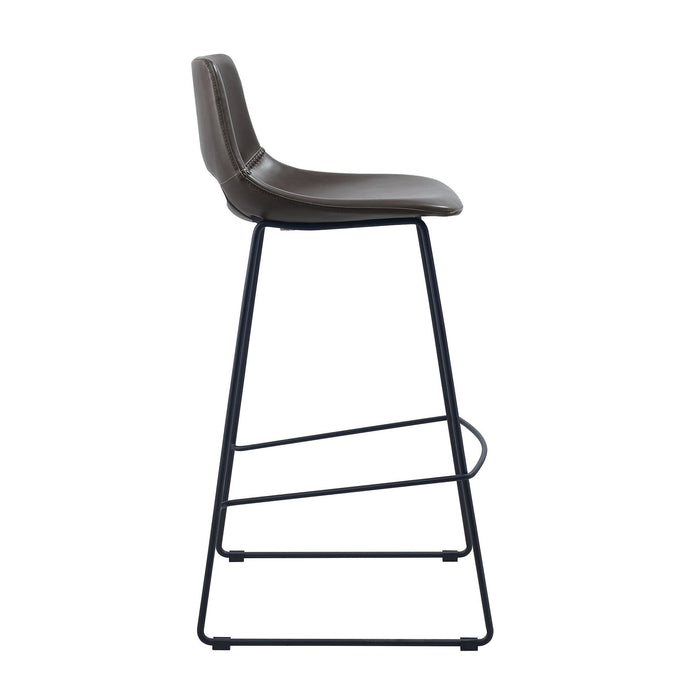 Bernard Faux Leather Bar Stool - Dark Brown