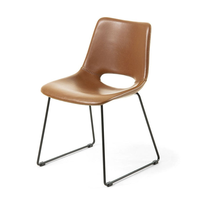 Bernard Faux Dining Chair - Rust Leather
