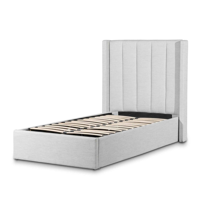 Betsy  Fabric Single Sized Bed Frame - Pearl Grey with Storage