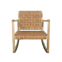 Blaze Teak and Leather Rocking Armchair - Natural