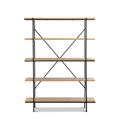 Bly 5-Tier Oak Metal Shelving Unit - Natural