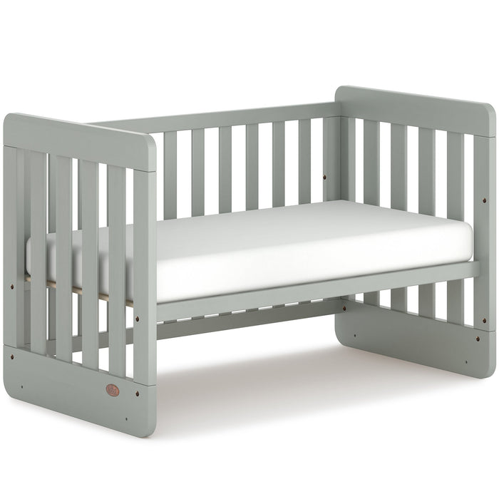 Piper Compact Adjustable Wooden Baby Cot with Mattress - Grey