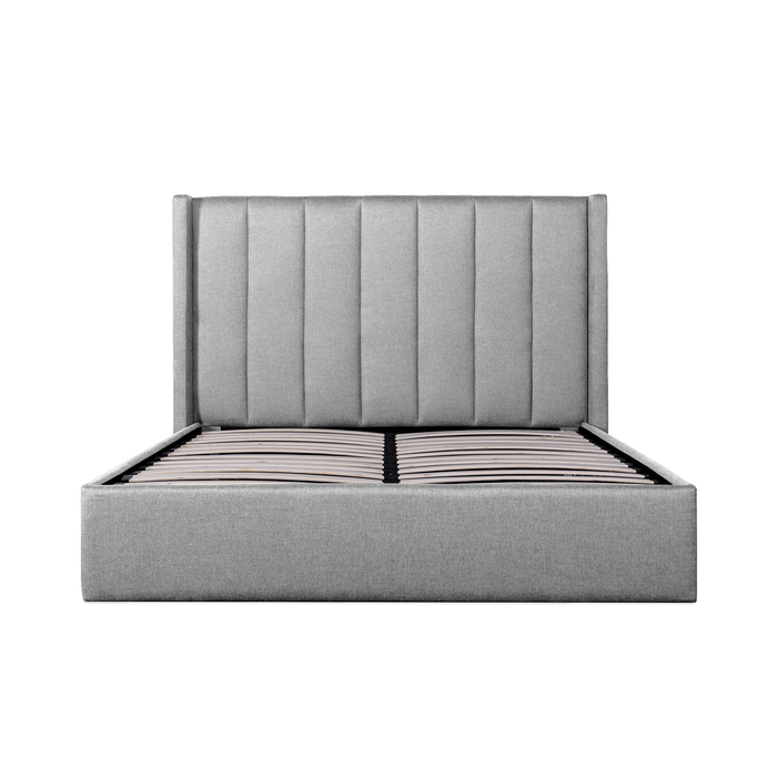 Betsy Fabric King Bed Frame - Pearl Grey with Storage
