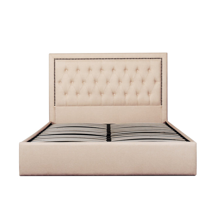 Osborne Fabric King Bed Frame - Beige with Tufted Headboard