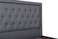 Osborne Fabric King Bed Frame - Lunar Grey with Tufted Headboard