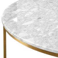 Lorenz 100cm Round Marble Coffee Table - Brushed Gold Base