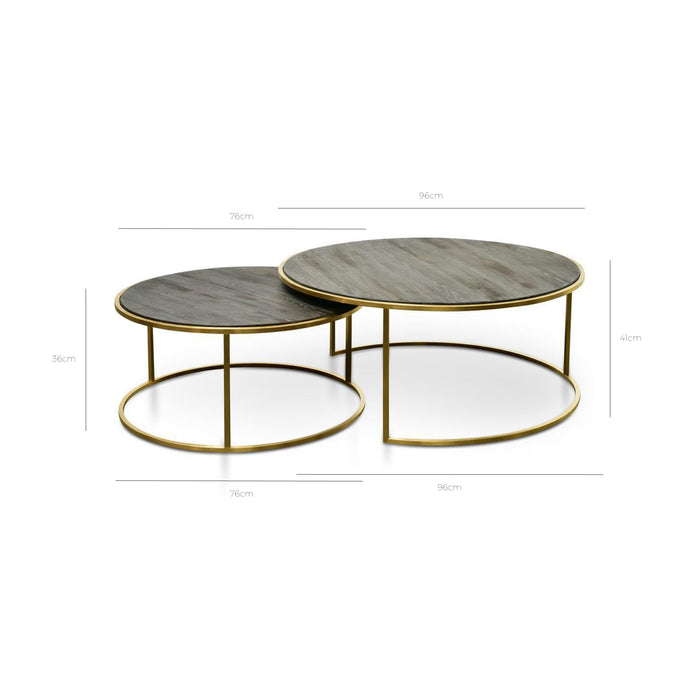 Alenzo Nested Coffee Table - Natural - Golden Base CF2339-NI