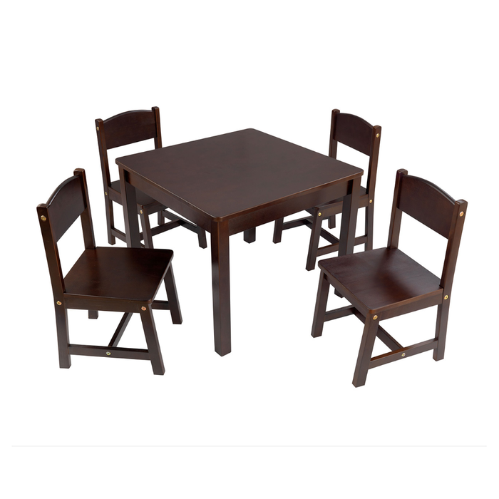 Kylo Solid Timber Kids Table and Chair Set - Walnut