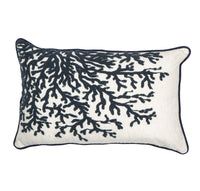 Coral Cushion - Blue / Natural