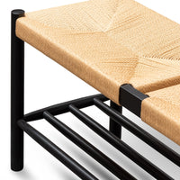 Erika 110cm Black Oak Bench - Natural Seat