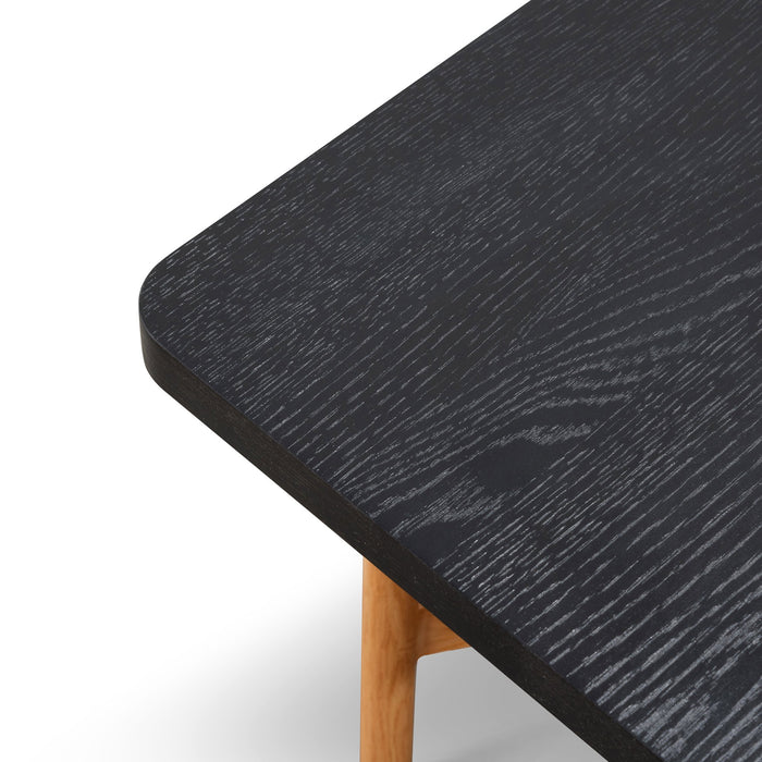 Veronica 1.8m Black Wooden Bench - Natural Legs