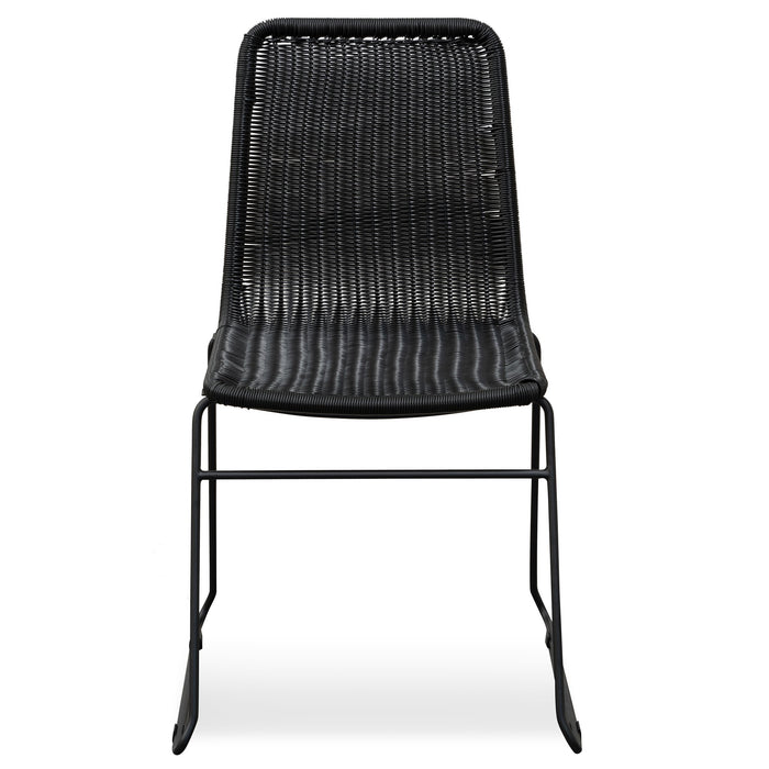 Ex Display - Cortez Rattan Seat Dining Chair - Full Black