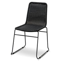 Cortez Rattan Seat Dining Chair - Full Black