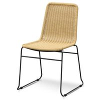 Ex Display - Cortez Rattan Seat Dining Chair - Natural with Black Legs