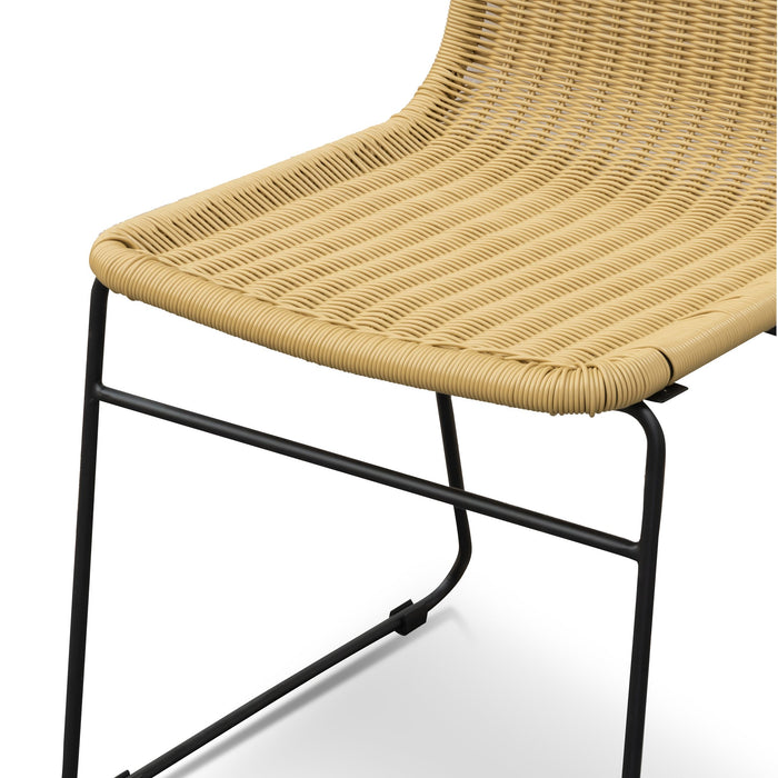Cortez Natural Rattan Seat Dining Chair - Black Legs