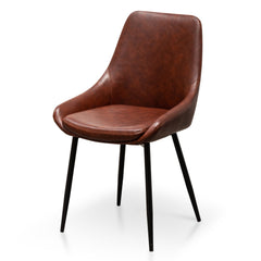 Set of 2 - Alfie Dining Chair in Cinnamon Brown PU Leather