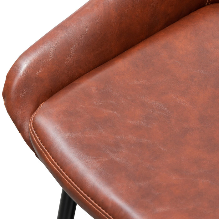 Set of 2 - Alfie Dining Chair - Cinnamon Brown PU Leather
