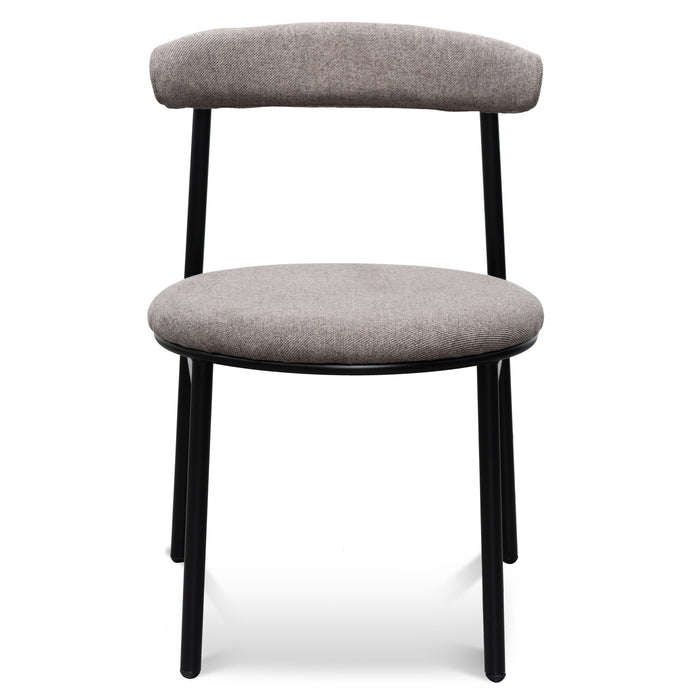 Oneal Fabric Dining Chair - Caramel Grey with Black Legs