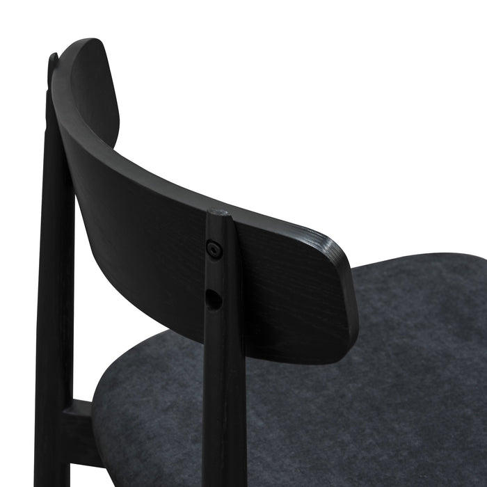 Wilbert Fabric Seat Dining Chair - Wooden Legs - Full Black