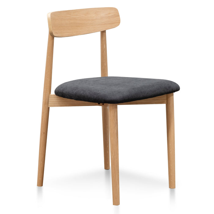 Wilbert Black Fabric Seat Dining Chair - Natural Legs