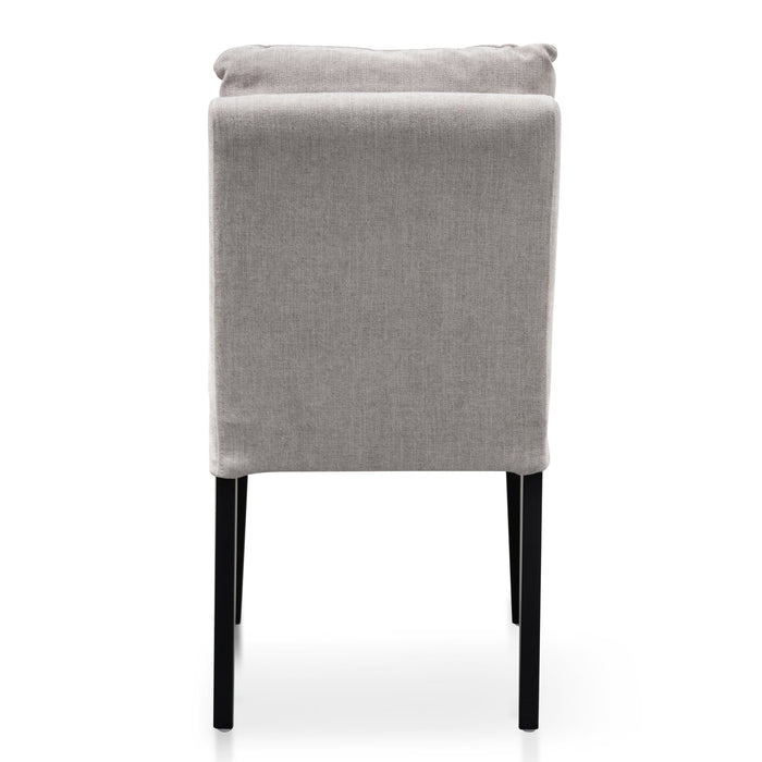 Medina Fabric Dining Chair - Oyster Beige with Black Legs