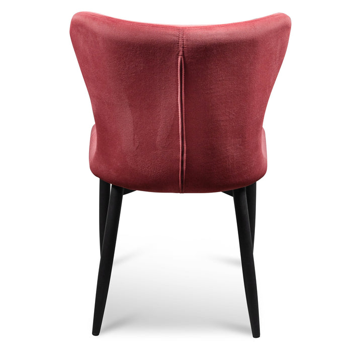 Mavis Dining Chair - Ruby Red Velvet in Black Legs